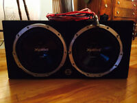 "2 12"" Sony subs with box amp and cap!!!"