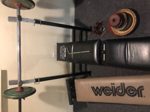 YORK 1500 Mega Bench set + Weights and Abdominal Bench