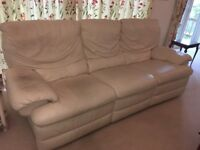 Cream leather sofa and armchair. REVISED PRICE!