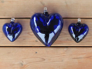 Hand Blown Blue Glass Hearts From Mexico
