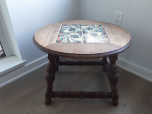 Nice oval wood side table with tile inserts