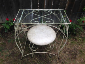 WROUGHT IRON BEDROOM GLASS TABLE MAKEUP VANITY SET