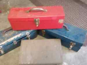 Lot of 4 old tool boxes