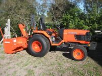 Kubota B7800 Tractor with mower and snowblower.