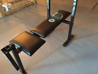 York Folding weight bench with weights