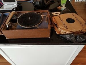 Antique Hand Crank Record Player and Many 78 records