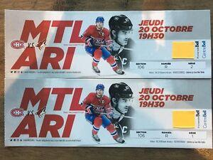 Red Tickets Montreal Canadien vs Arizona Billet Rouge