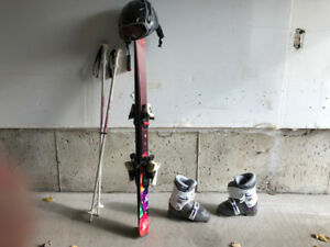 Child Ski's, binding, boots, poles, helmet and Goggles for sale