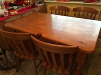 Pine wooden Dining table with 4 chairs and display showcase w