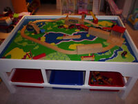 Real wood train table with lots of storage room