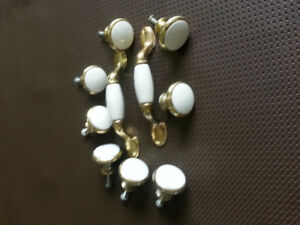 10 BRASS AND IVORY CABINET KNOBS AND PULLS