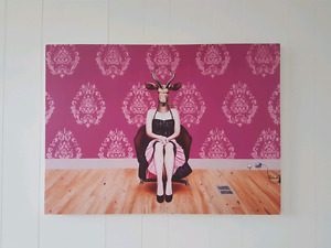 Woman With Animal Head: Print on Canvas