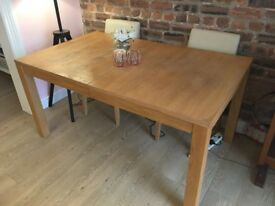 Oak Dining Table (plus 2 chairs)