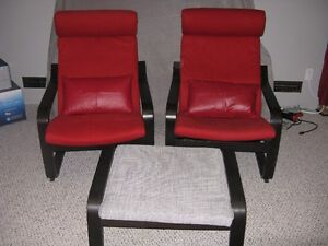 2 Ikea chairs and footstool