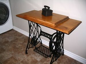 Old Singer Treadle Sewing Machine Base with New Solid Oak Top
