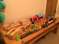 Wooden train set collection, including Thomas the tank engine & friends engines & carriages.