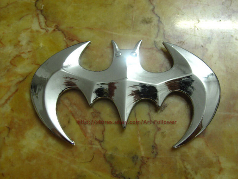 1P Metal 3D Decal Emblem Batman Auto 3M Decor Car Silver Sticker 1 p