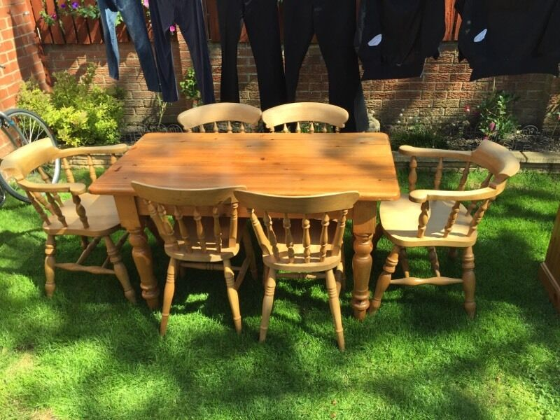 antique pine dinner table and 6 chairs for sale in durham county