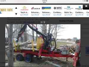 2 cord log trailer with hydraulic crane and grapple, skidder ,