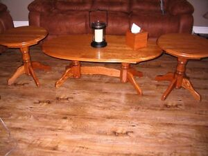 Solid Oak Coffee Table and Two End Tables Set