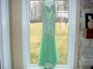 BLUSH PROM Long Maxi Dress Size 4  Honeydew Lime Green ~ Sequins