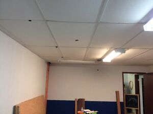 T-bar ceiling with panels.