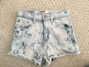 High Waisted Acid Wash Ripped Jean Shorts from Garage Clothing