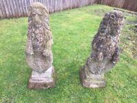 Pair Heraldic Stone Lions