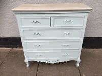Shabby Chic Ornate French Style Chest Of Drawers - Duck Egg