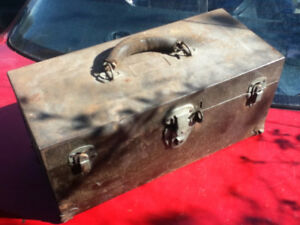 Vintage Tool Box Metal Leather Handle or Home Decor Display OBO