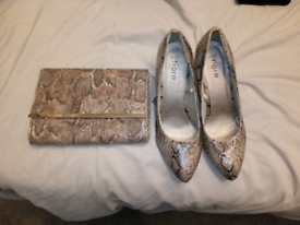 Size 8 leopard print shoes and bag
