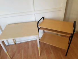 2 TABLES IM PERFECT CONDITION, 1 WITH ADJUSTABLE HEIGHT