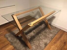 Oak and glass top dining table BROMSGROVE