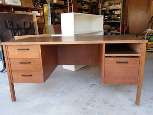 "Wood Desk with 60""X30"" simulated wood grain arborite top"