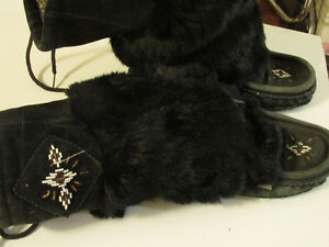 BEADED LEATHER AND FUR MUKLUK BOOTS