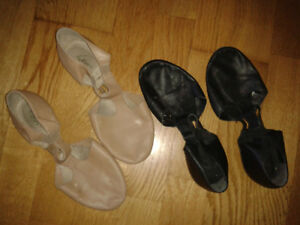 variety of dance shoes and leotards