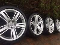 "GENUINE AUDI RS5 RS4 A5 S5 19"" ALLOY WHEELS AND TYRES S Line 5 x 112"