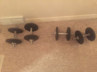 4 dumbbells and 100 lbs in weights