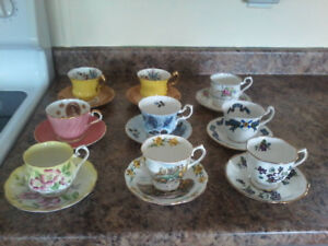 9 flawless vintage teacups and saucers
