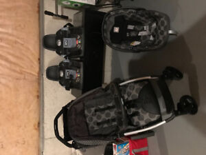 Peg Perego Book Classical stroller,  carrier and 2 car bases.