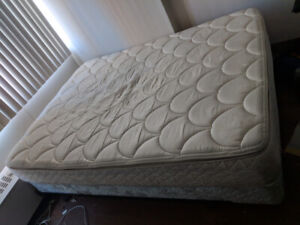 Queen mattress with base on wheels
