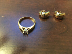 Gold ring 14K weight 4g. = 150$ Earings 10K weight 4g with diamo