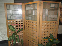 ROOM DIVIDER WITH PLANTERS AND STAINED GLASS