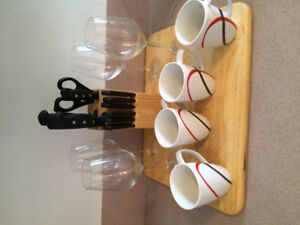 Glasses, cups knife block chopping board