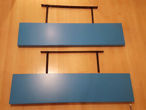"Ikea ""Lack"" Free-hanging Wall Shelves in Blue - set of 2"