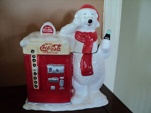 coca cola polar bear ceramic cookie jar