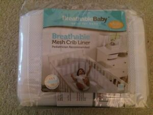 Breathable Baby brand Mesh Crib Liner - in White