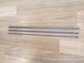 3 x Masonry Drill bits: 1000mm x 20mm, 1000mm x 10mm and 1000mm x 5mm