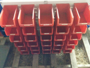 Bolt bins with wall mount rack