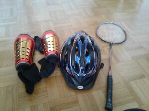 Youth shin guards, helmet and badminton racket all for $5